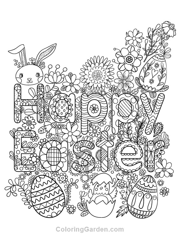Free Printable Coloring Sheets Spring For Adults  Happy Easter Adult Coloring Page