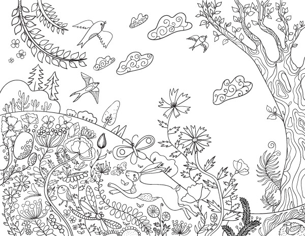 Free Printable Coloring Sheets Spring For Adults  Spring Day Adult Coloring Page