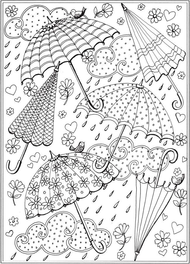 Free Printable Coloring Sheets Spring For Adults  Spring rain umbrellas Free printable coloring page from