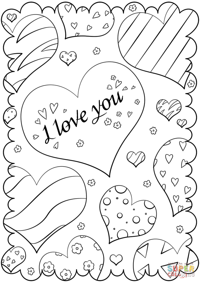 """Free Printable I Love You Coloring Pages For Adults  Valentine s Day Card """"I Love You"""" coloring page"""