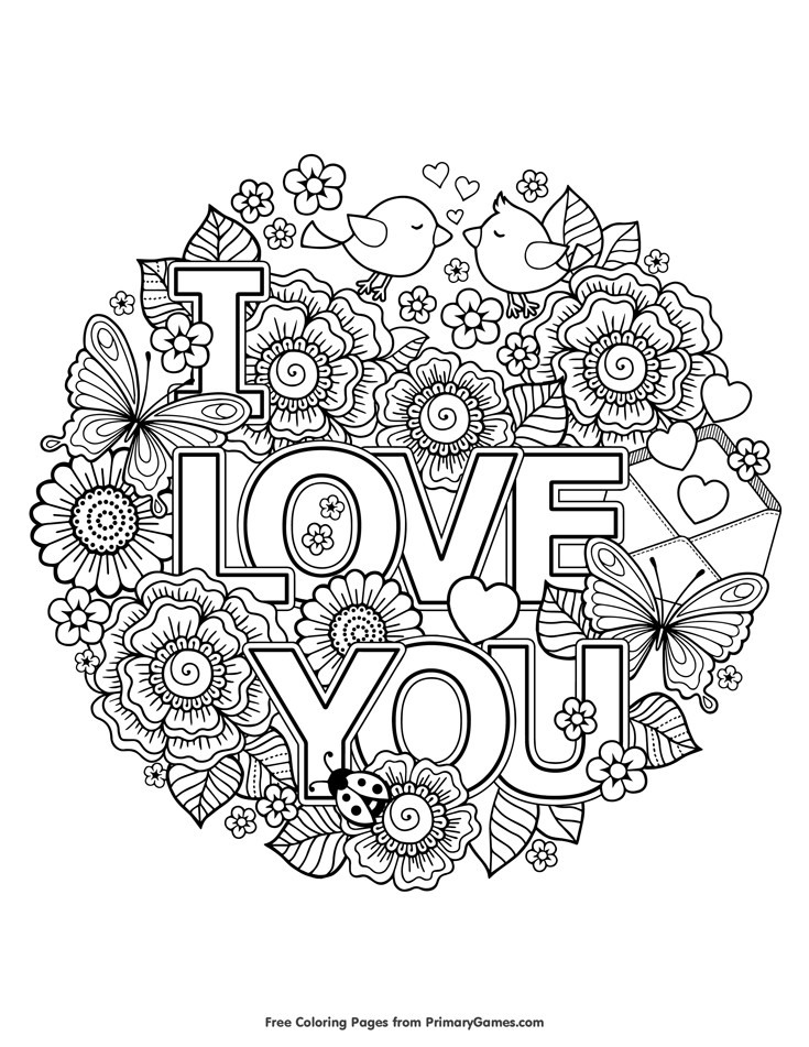 Free Printable I Love You Coloring Pages For Adults  Valentine s Day Coloring Pages eBook I Love You