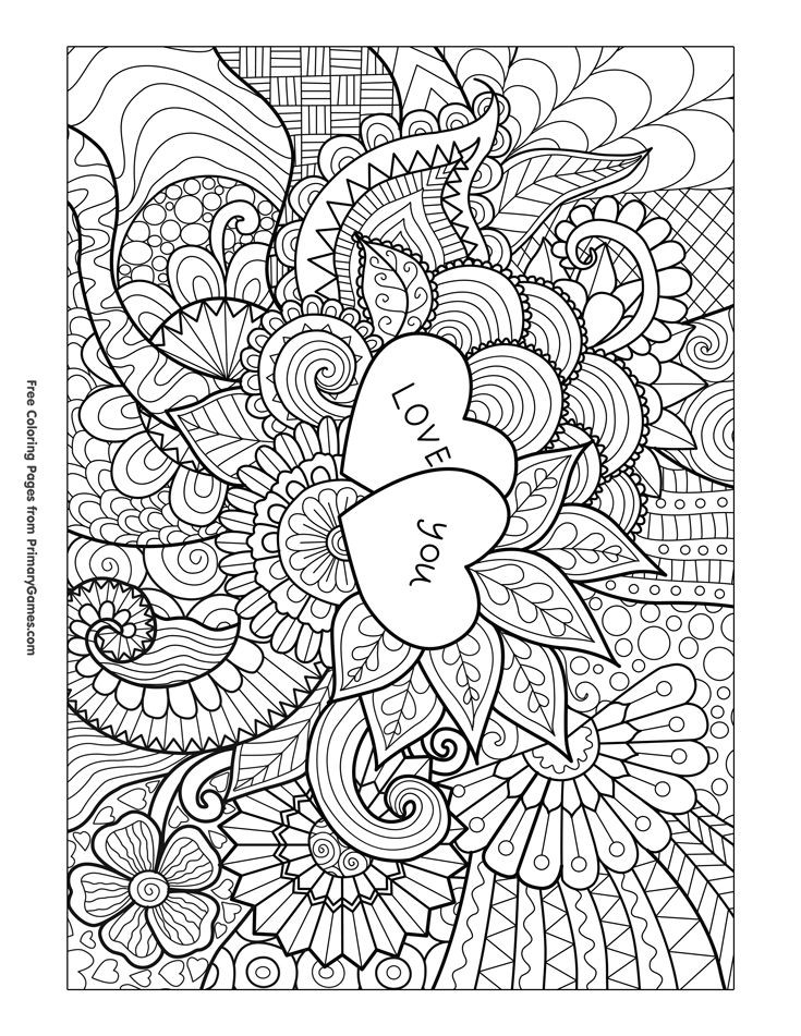 Free Printable I Love You Coloring Pages For Adults  169 best Hearts Love Coloring Pages for Adults images on