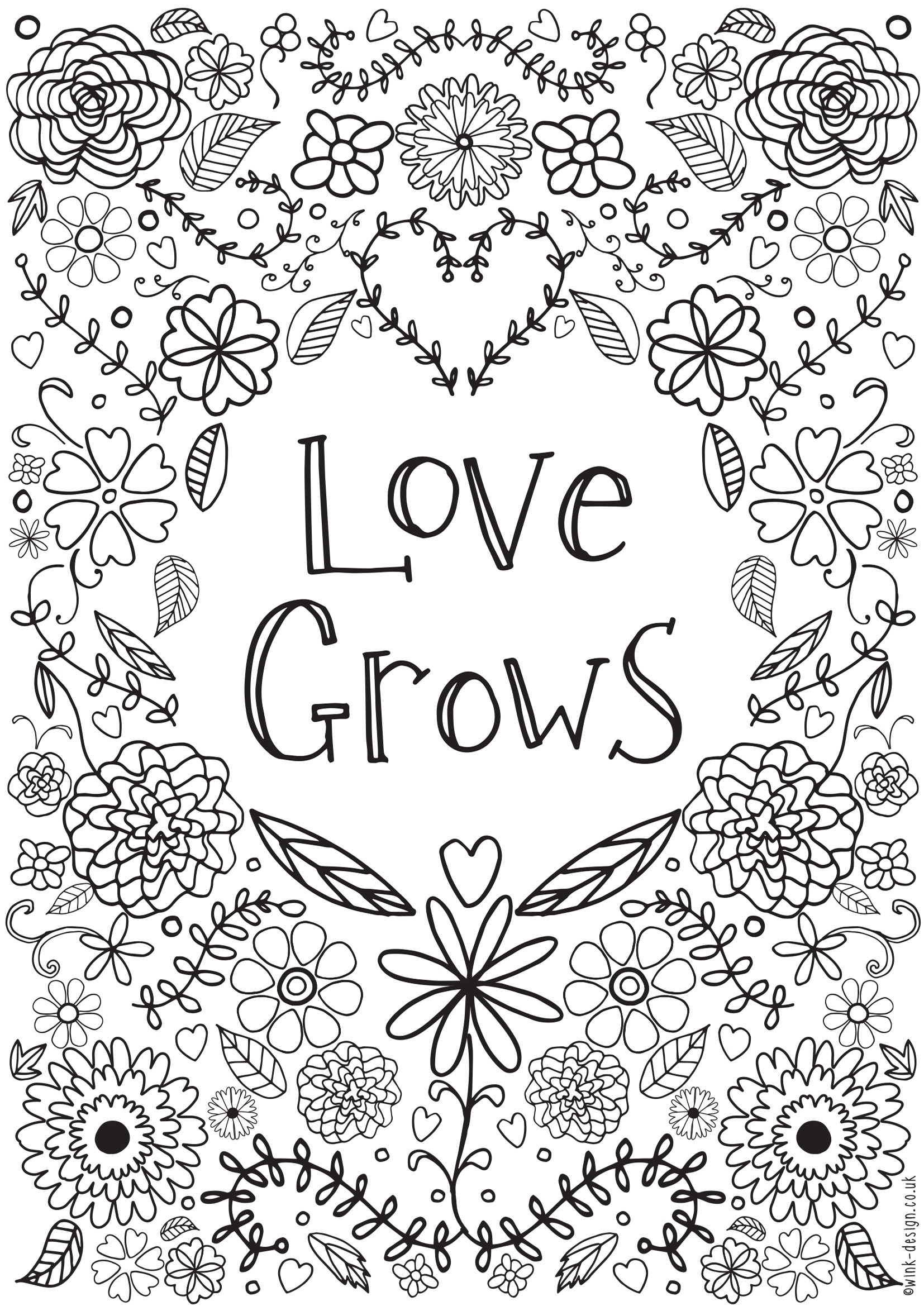 Free Printable I Love You Coloring Pages For Adults  Free Printable Adult Colouring Pages Inspirational Quotes