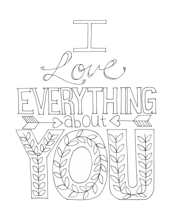 Free Printable I Love You Coloring Pages For Adults  Free printable coloring sheets with sweet phrases Have