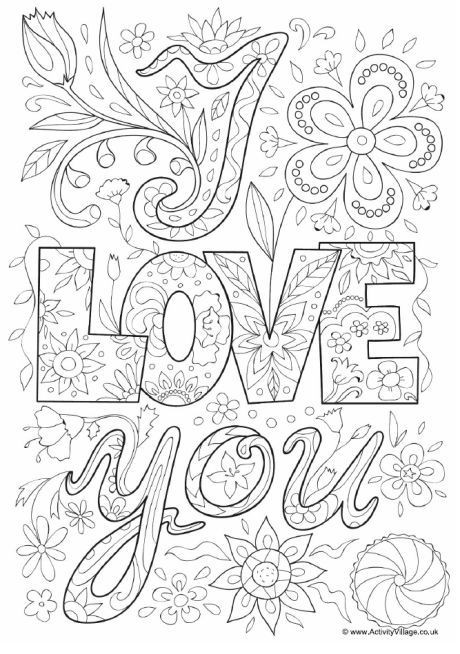 Free Printable I Love You Coloring Pages For Adults  I love you doodle colouring page words