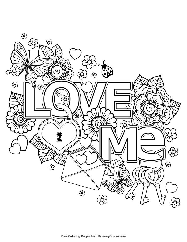 Free Printable I Love You Coloring Pages For Adults  Valentine s Day Coloring Pages eBook Love Me
