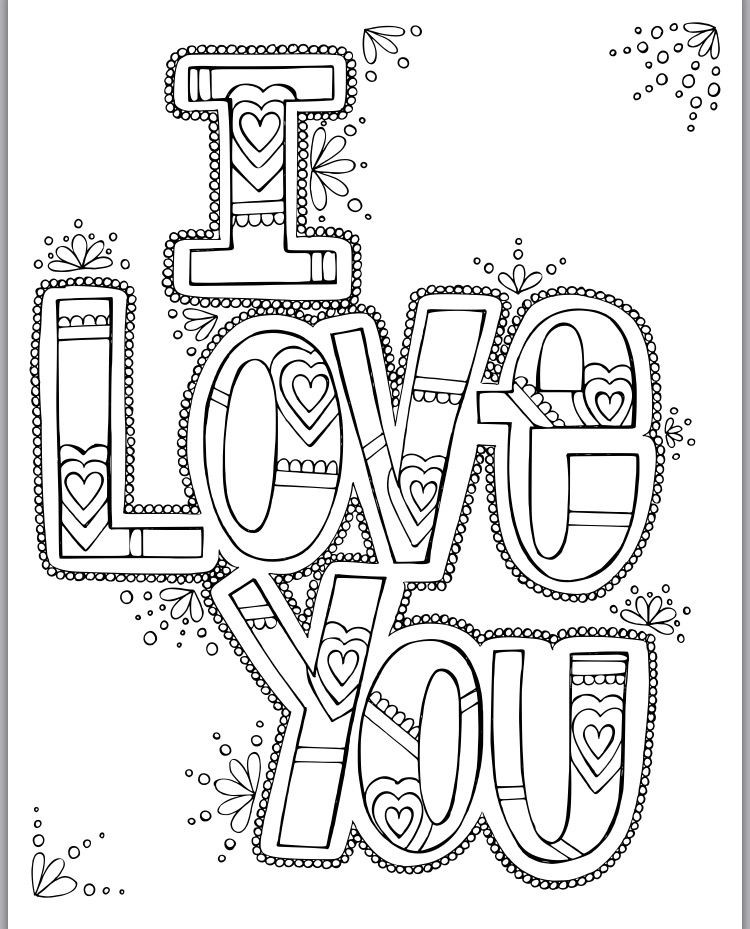 Free Printable I Love You Coloring Pages For Adults  I Love You Coloring Print Pinterest