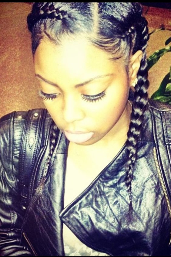 "French Braid With Weave Hairstyles  A y spin on the regular ""two french braids"" that many"