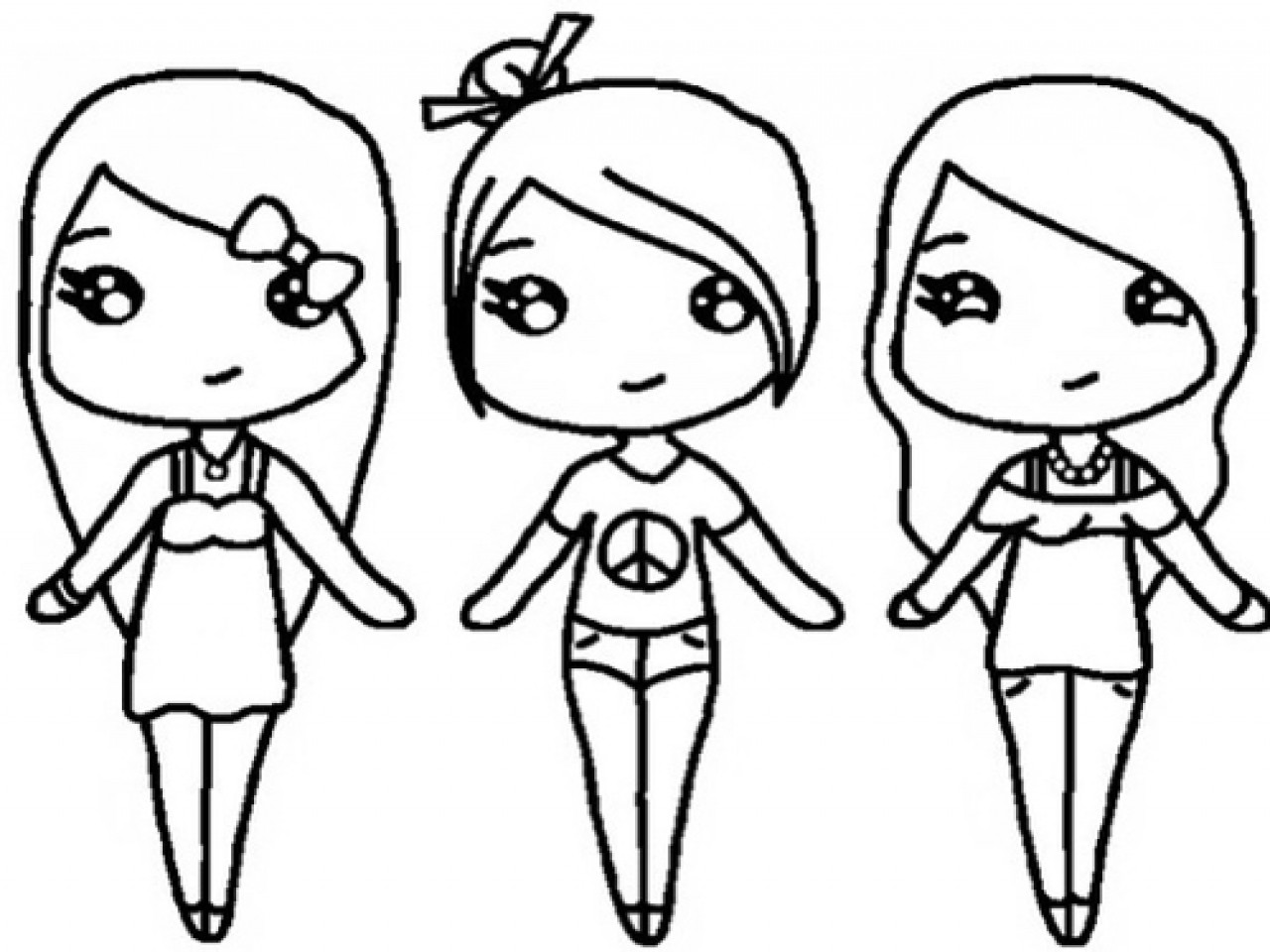 Friendship Coloring Pages For Girls  Bff Coloring Pages For Girls Best Friend Chibi Stencils
