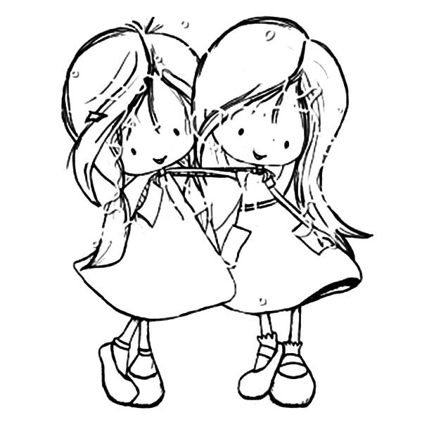 Friendship Coloring Pages For Girls  Best Friends Two Little Girl Coloring Pages Best Friends