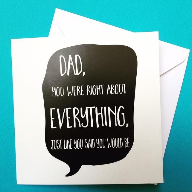 Funny Daddy Birthday Cards  dad birthday card dad s always right birthday Folksy