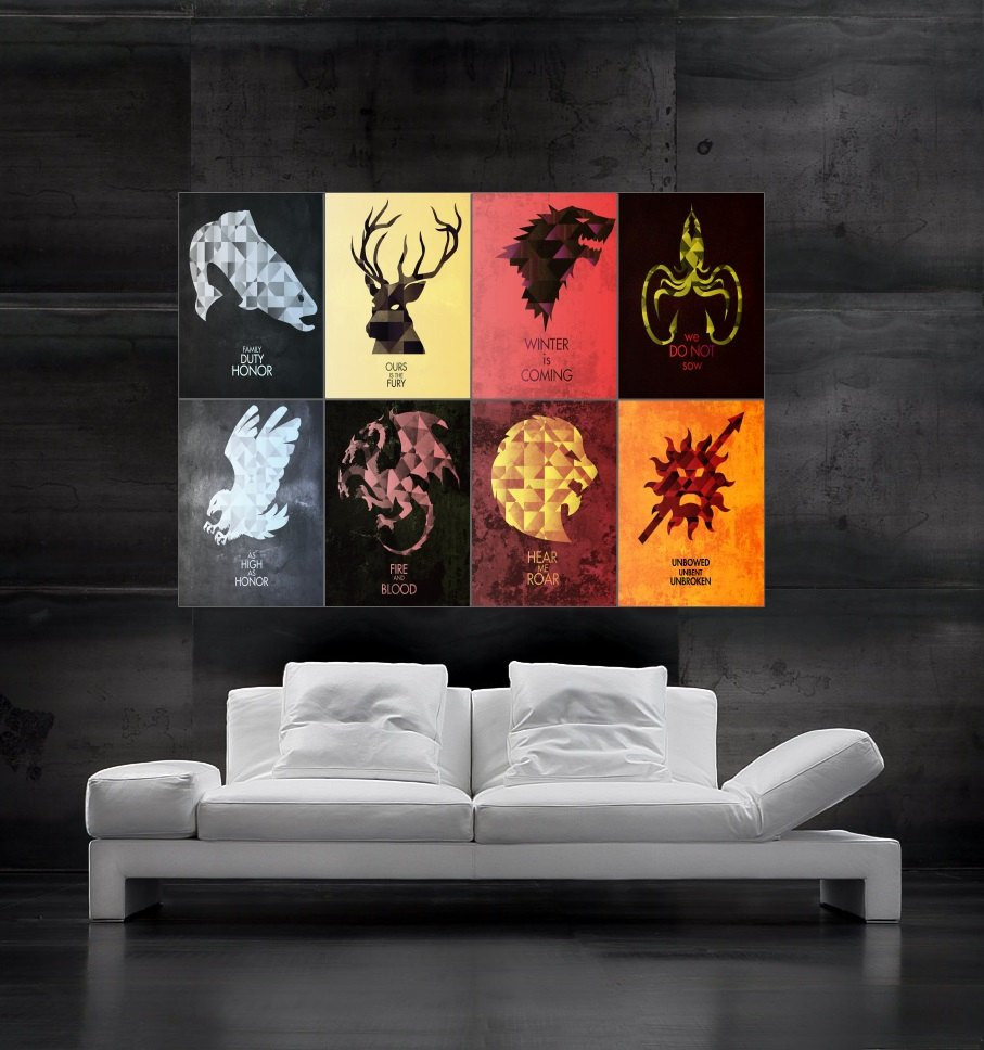 Best ideas about Game Of Thrones Wall Art . Save or Pin Game of Thrones symbols of houses flags Poster by Now.