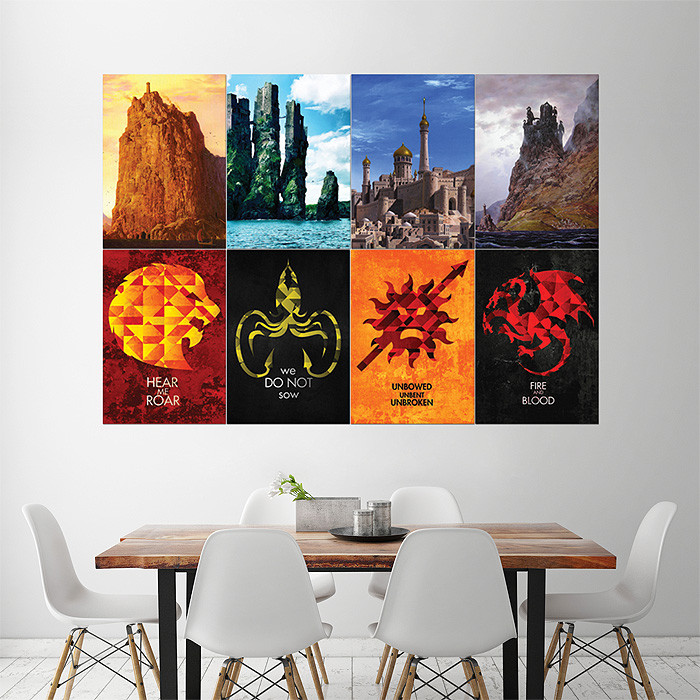 Best ideas about Game Of Thrones Wall Art . Save or Pin Game of Thrones Sigils Castles 1 Block Giant Wall Art Poster Now.