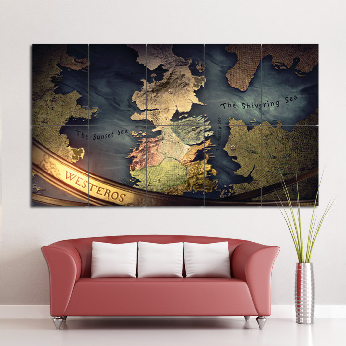 Best ideas about Game Of Thrones Wall Art . Save or Pin Game Thrones Map Block Giant Wall Art Poster Now.