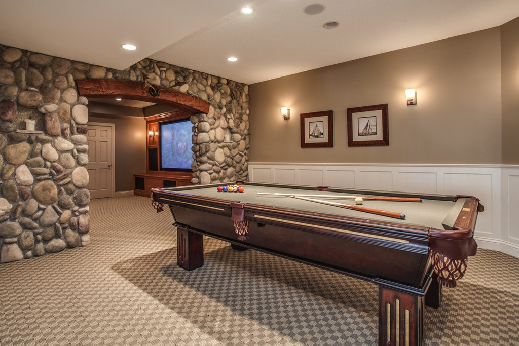Best ideas about Game Room Carpet . Save or Pin Traditional Game Room with Wainscoting & Carpet in Now.