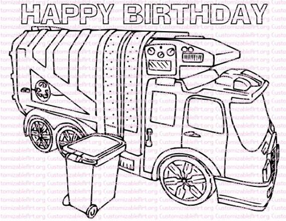 Garbage Truck Printable Coloring Pages  Garbage Truck Birthday Party Printables Garbage Truck Coloring