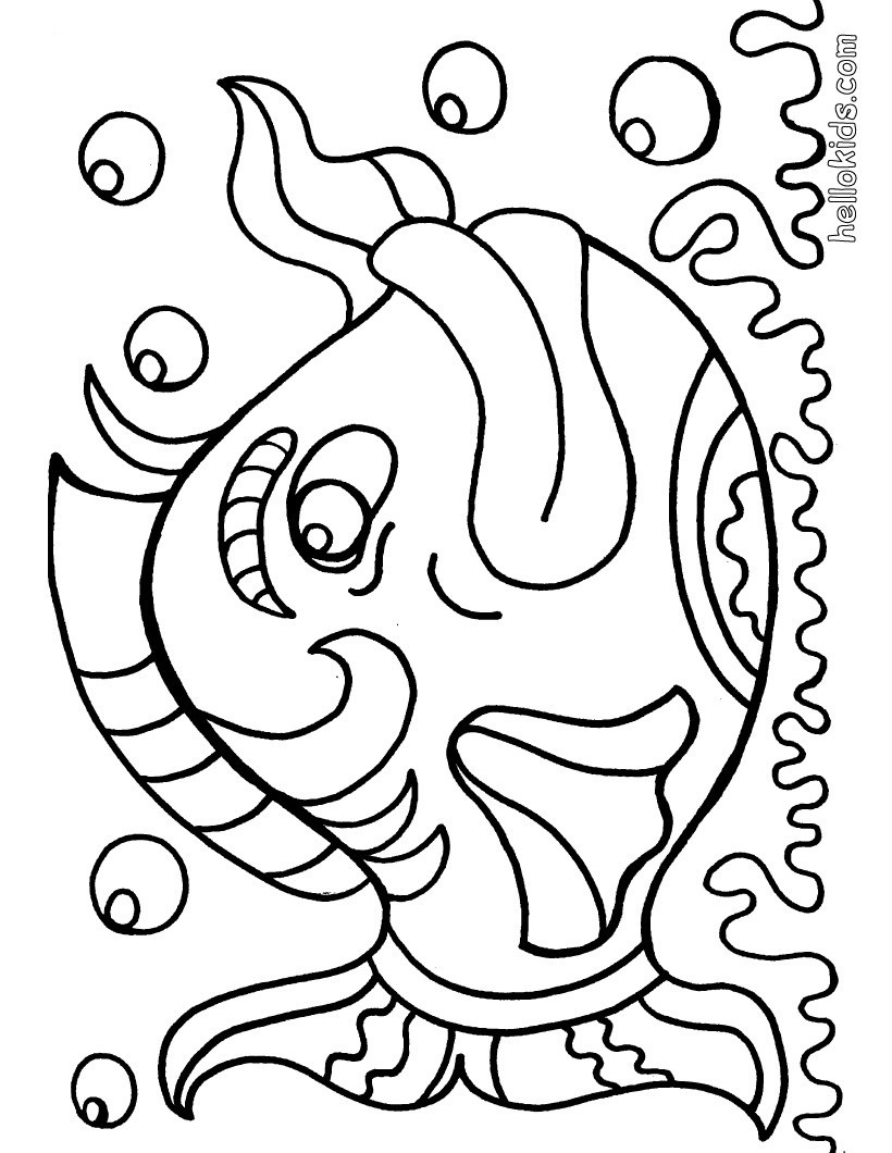 Giant Coloring Books For Toddlers  Happy Fish Colouring Picture Big Coloring Pages Hellokids