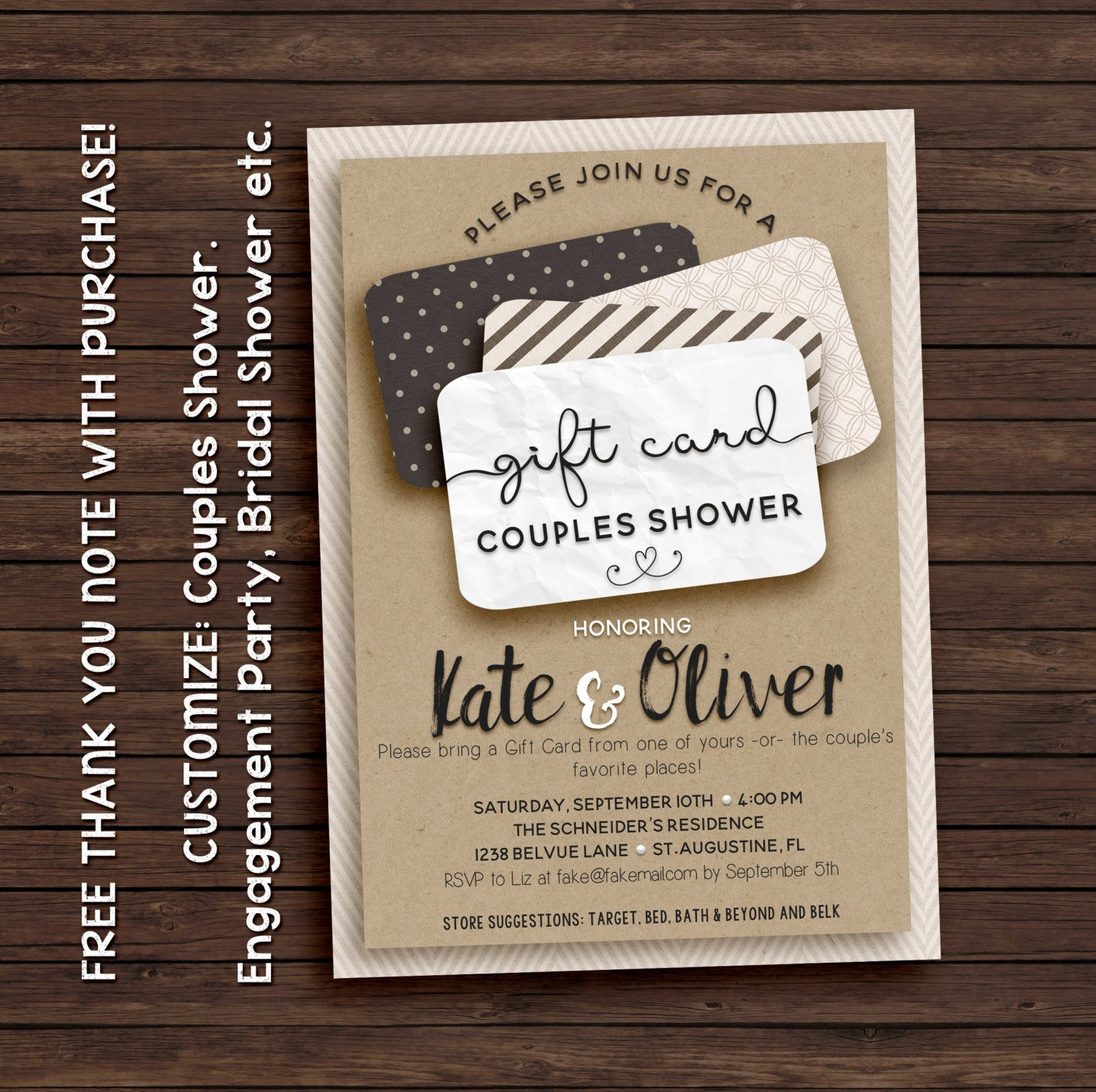 Best ideas about Gift Card Ideas For Couples . Save or Pin Couples shower invitation t card invitation printable Now.