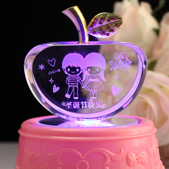 Gift Ideas Ex Girlfriend  Crystal Apple Decoration Christmas Eve wedding t to