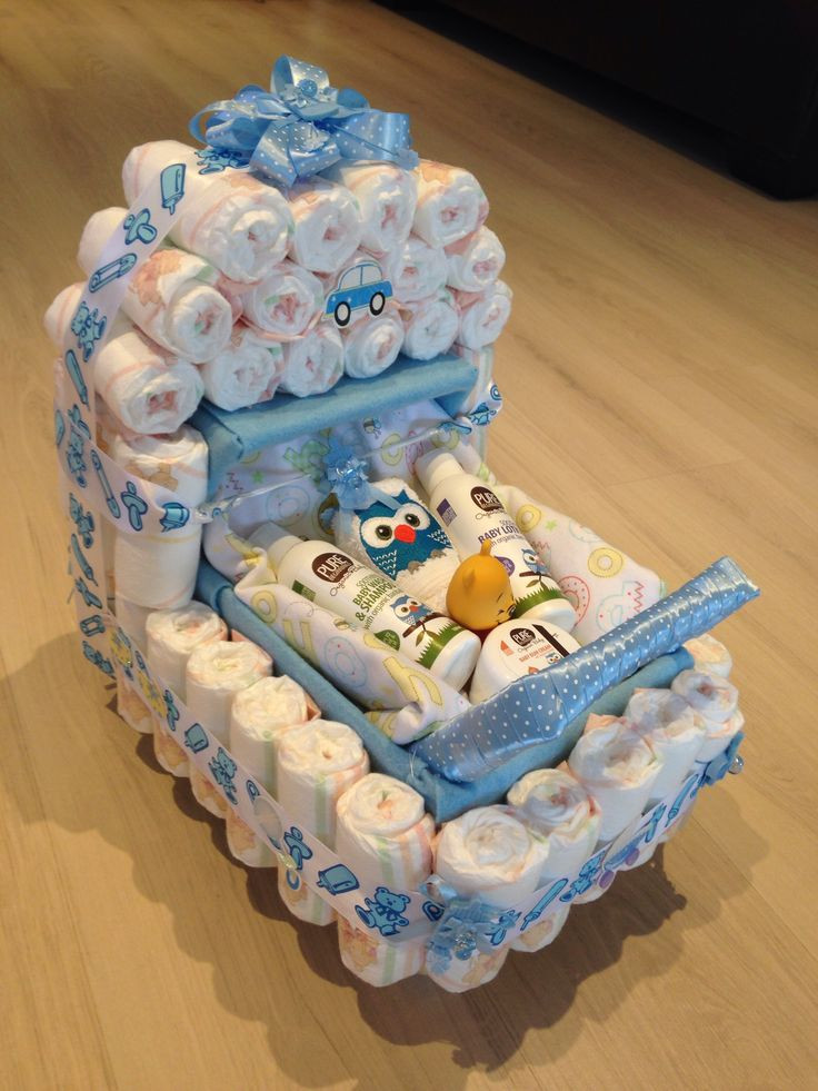 Gift Ideas For A Baby Shower  Baby shower present nappy stroller idea