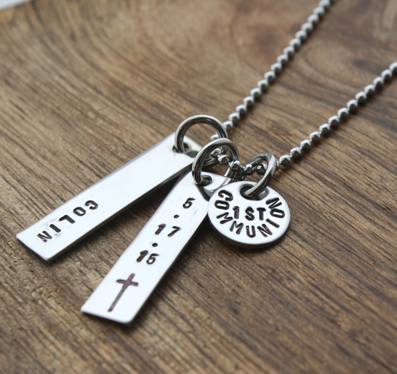 Gift Ideas For Boys 1St Communion  Boys First munion Necklace For Boy by sierrametaldesign