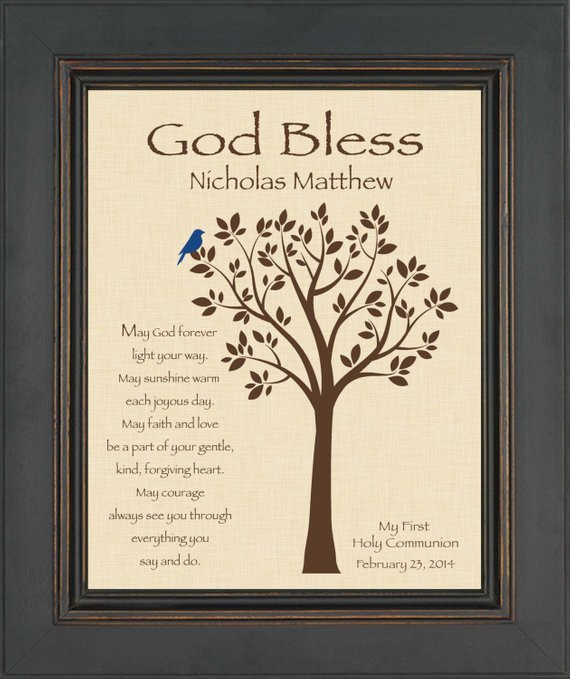 Gift Ideas For Boys 1St Communion  FIRST MUNION GIFT 8x10 Print Personalized Gift for Holy