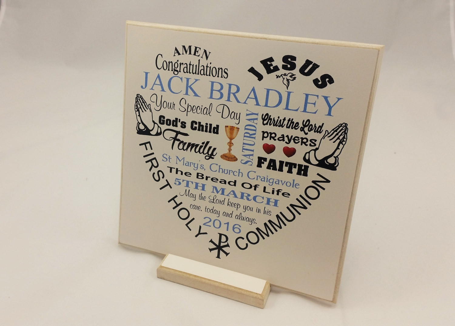 Gift Ideas For Boys 1St Communion  First munion Gift Boy Girl Personalised Wooden Plaque
