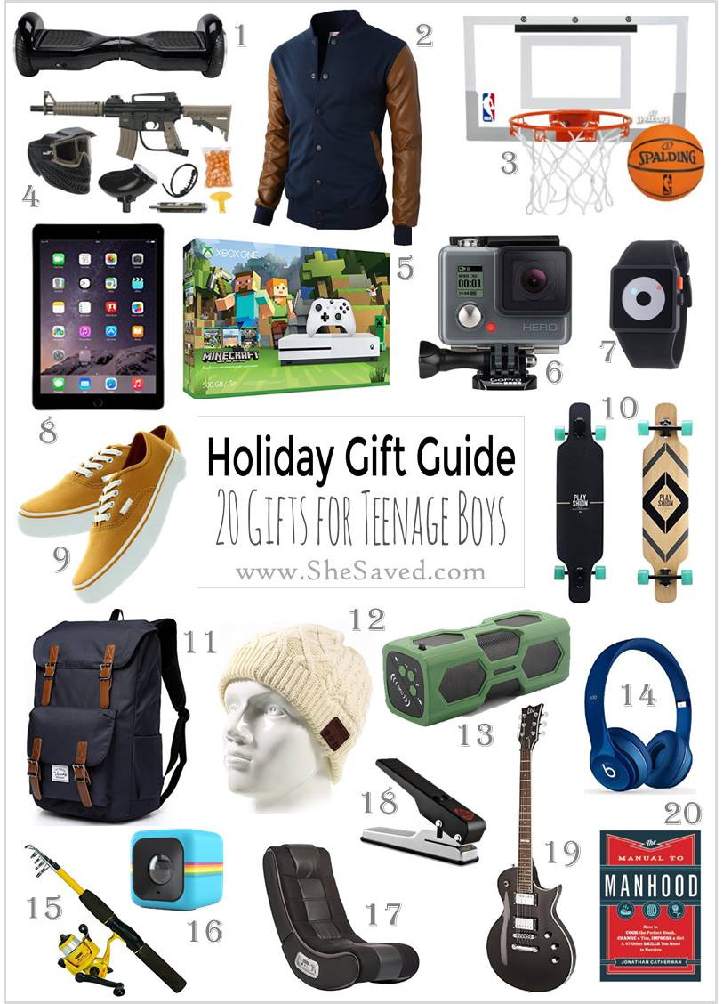 Gift Ideas For Teenager Boys  HOLIDAY GIFT GUIDE Gifts for Teen Boys SheSaved