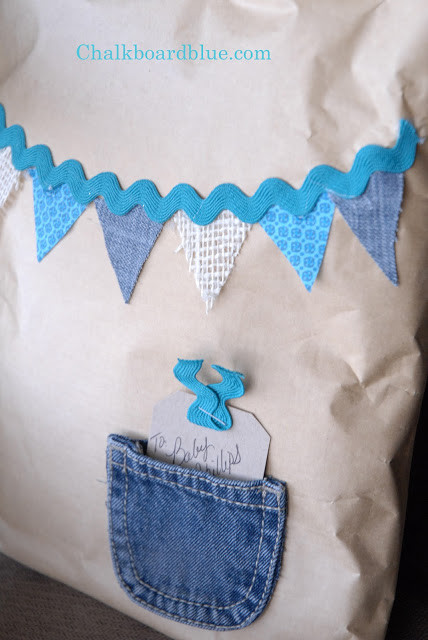 Gift Wrapping Ideas For Baby Boy  Chalkboard Blue Quick & Inexpensive Baby Gift Wrap Idea