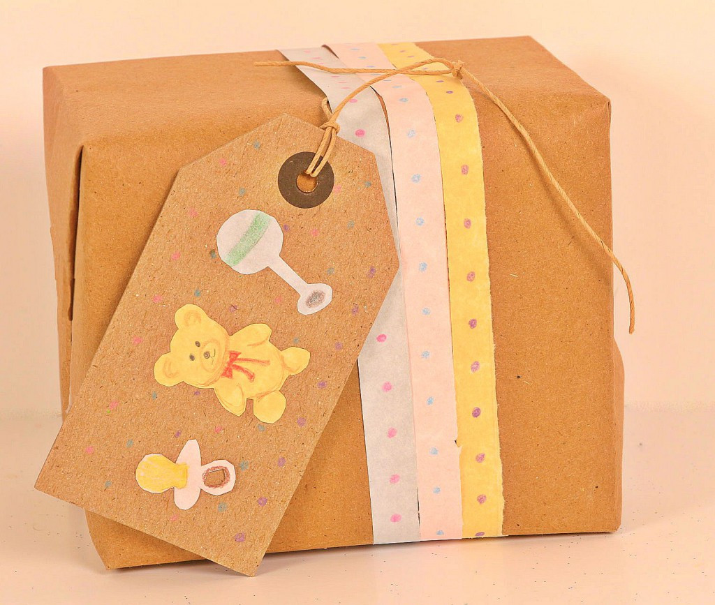 Best ideas about Gift Wrapping Ideas For Baby Showers . Save or Pin Baby Shower Gift Wrapping Kraft Paper Now.