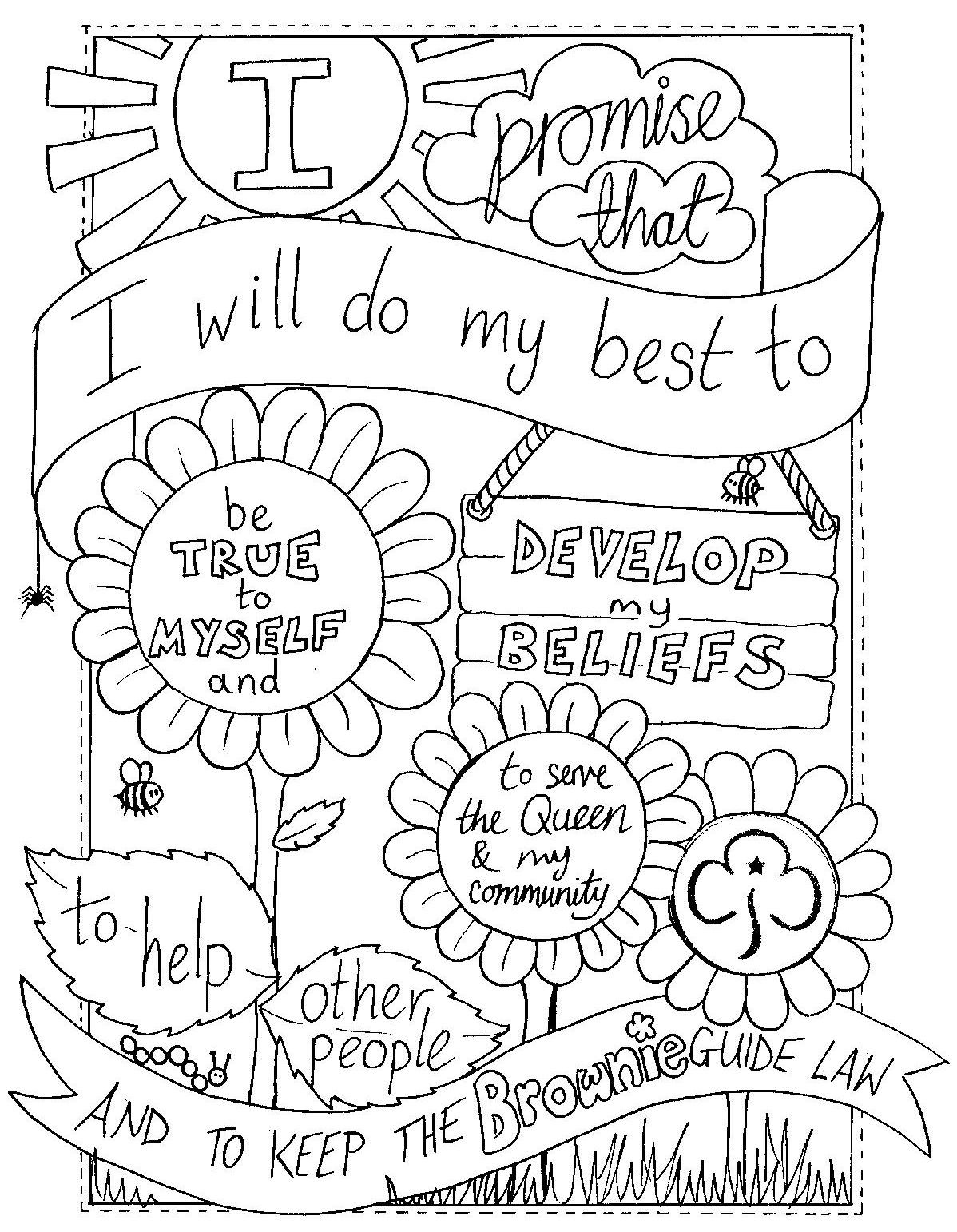 Girl Scout Printable Coloring Pages  Daisy Girl Scout Law Coloring Pages