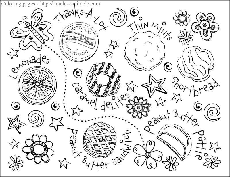 Girl Scout Printable Coloring Pages  Girl scout cookie coloring sheets timeless miracle