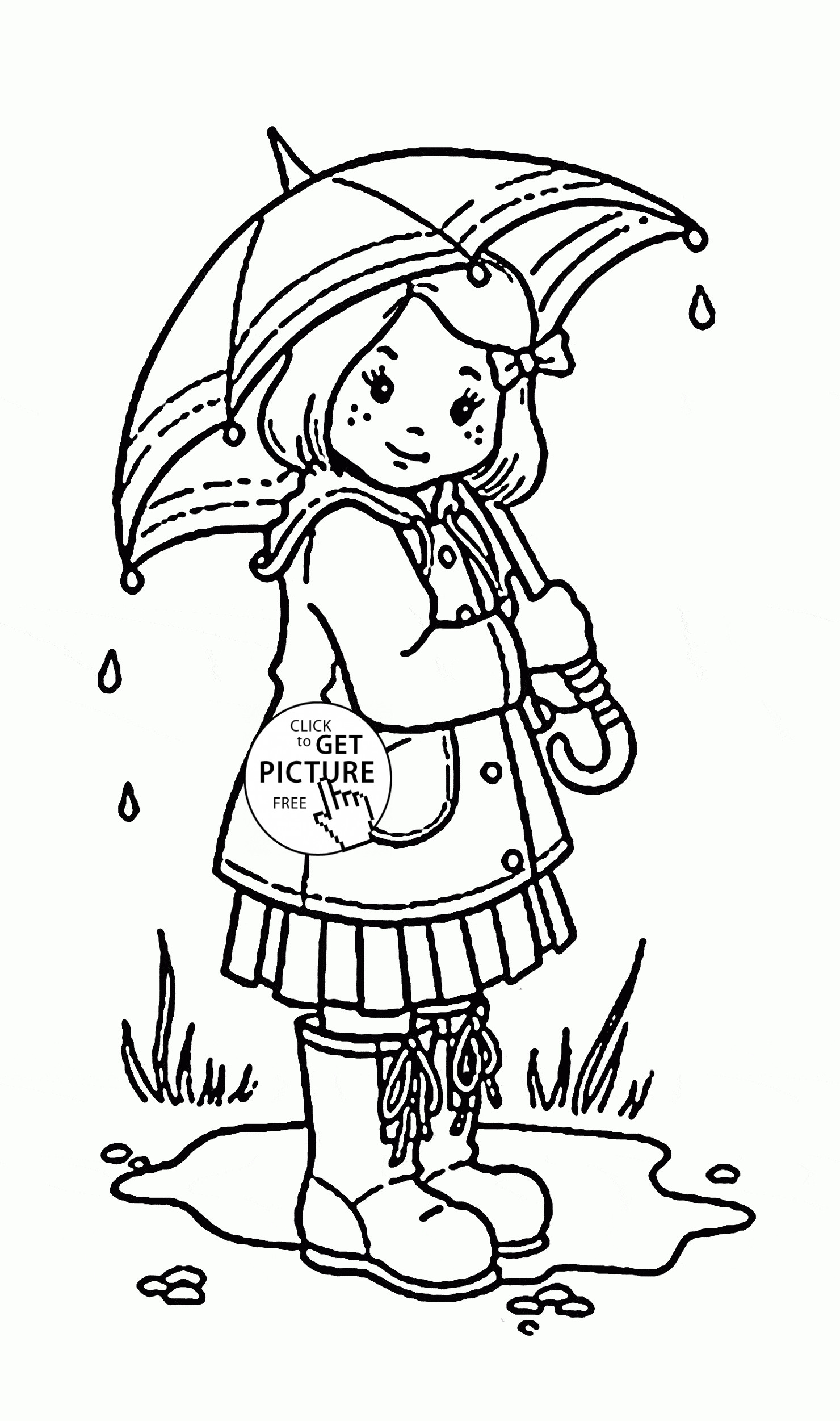 Girls Coloring Pages For Kids  Girl and Umbrella Coloring Page for Kids Spring Coloring