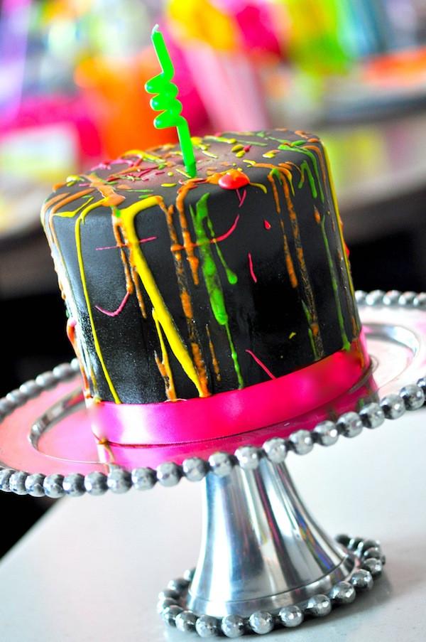 Glow In The Dark Birthday Cake  Kara s Party Ideas Neon Glow In The Dark Teen Birthday