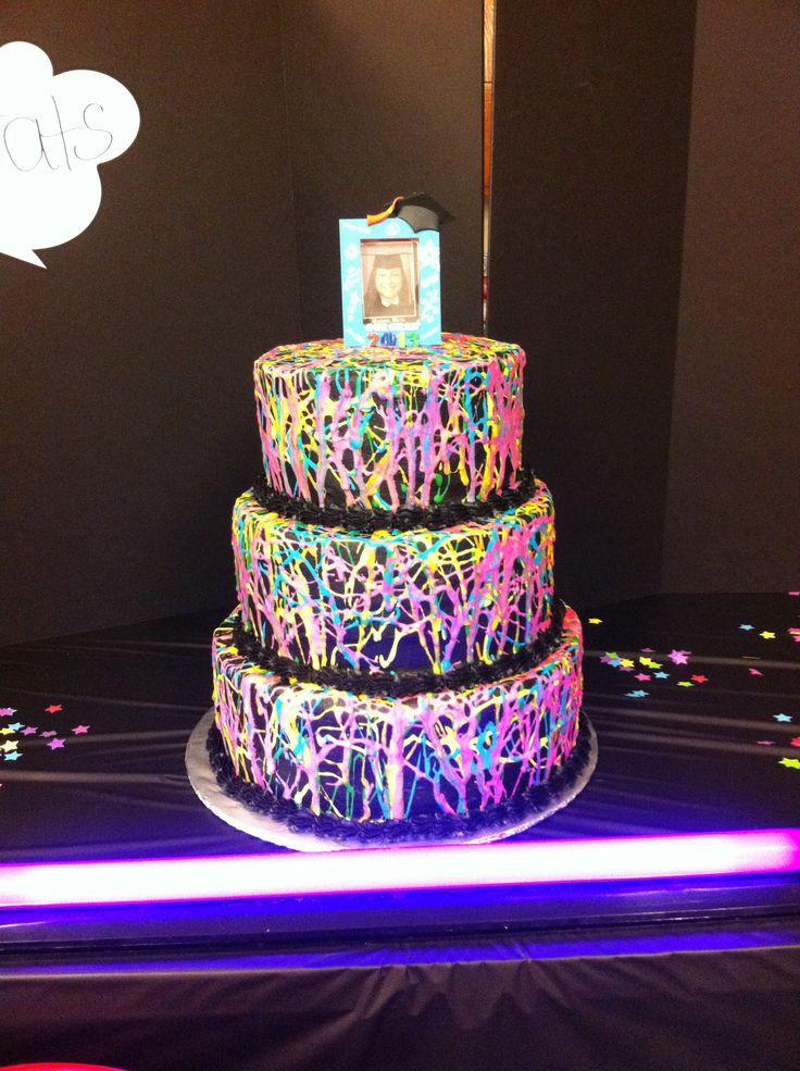 Glow In The Dark Birthday Cake  Glow in the dark splatter paint cake for a black light