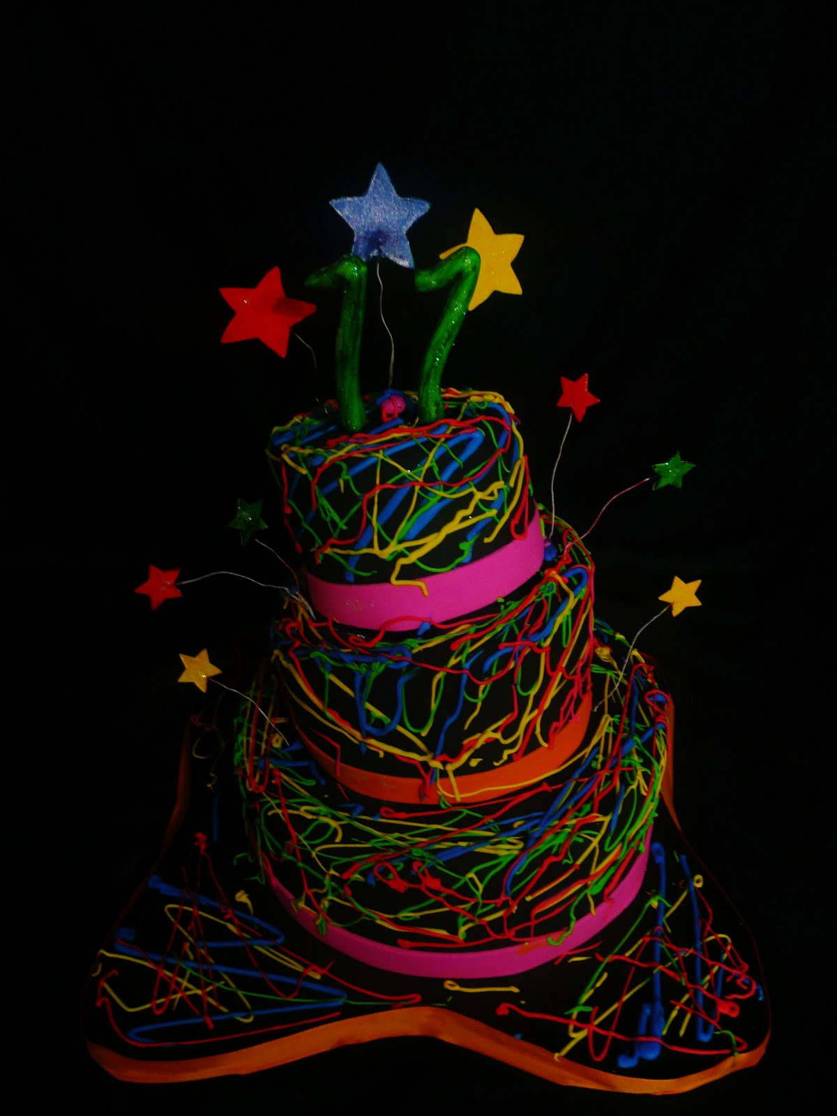 """Glow In The Dark Birthday Cake  Baking with Roxana s Cakes Small Version """"Glow in the"""