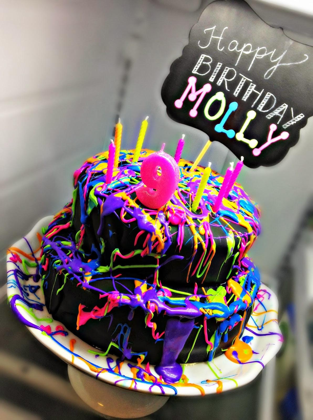 Glow In The Dark Birthday Cake  Bringing Up Burns Molly s NINTH Neon Glow in the Dark