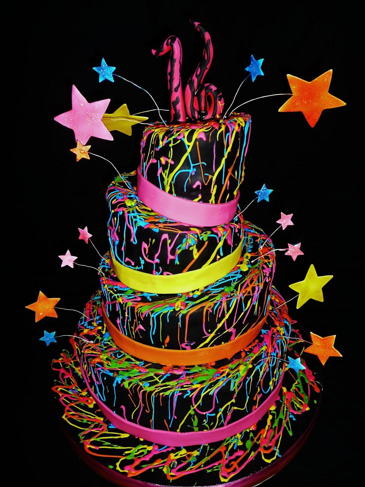 "Glow In The Dark Birthday Cake  Baking with Roxana s Cakes Sweet 16 ""Glow in the Dark"