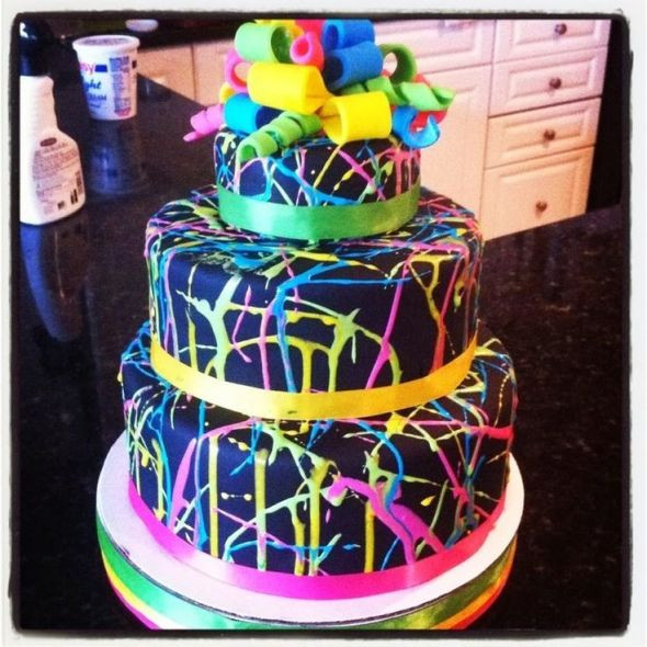 Glow In The Dark Birthday Cake  Party themes Neon party Glow in the Dark Party ideas