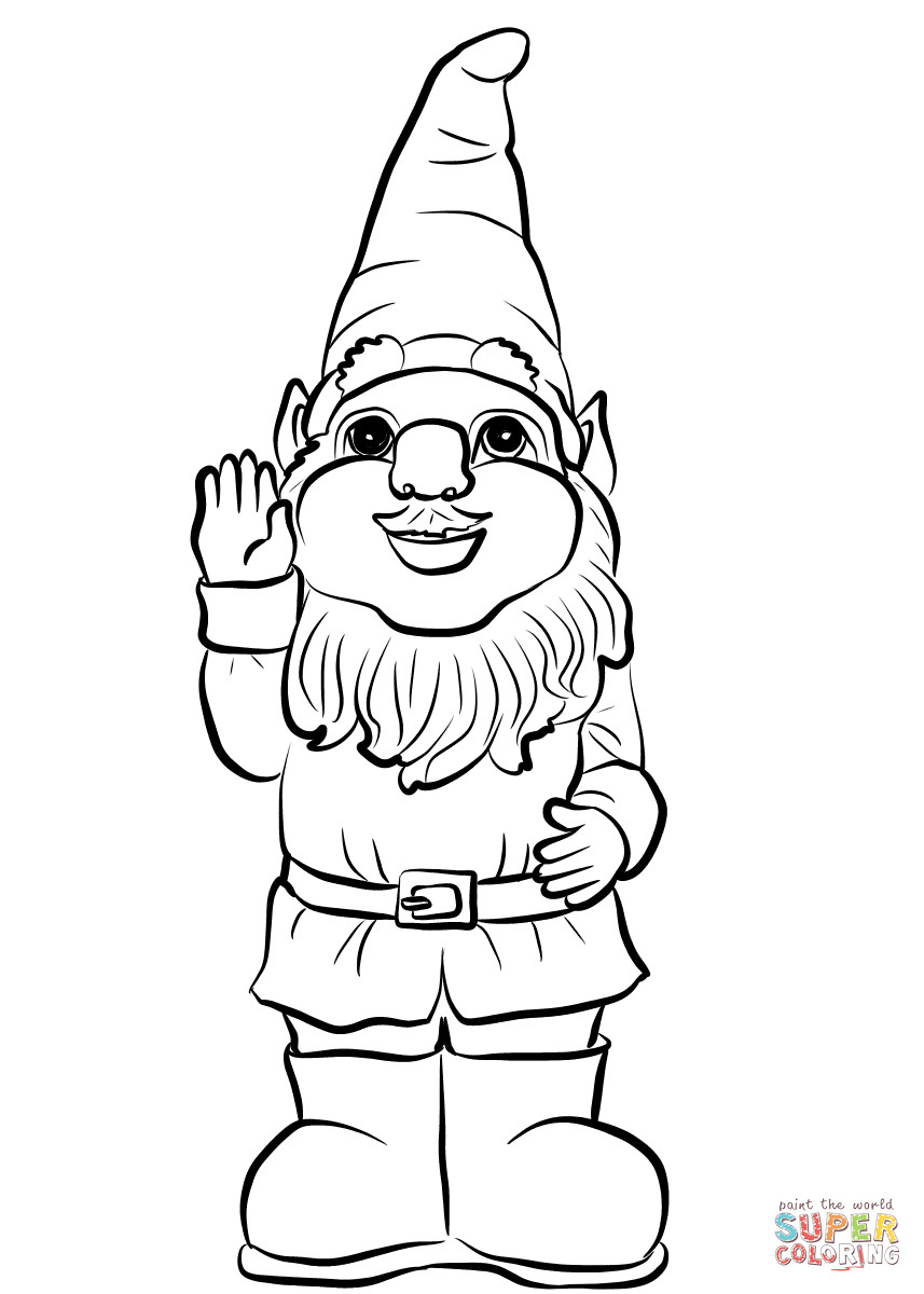 Gnome Coloring Pages  Gnome Say Hello coloring page