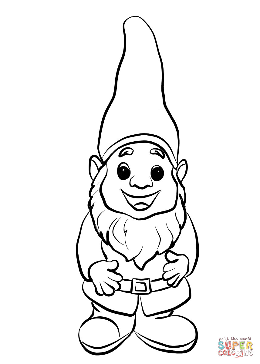 Gnome Coloring Pages  Cute Gnome coloring page