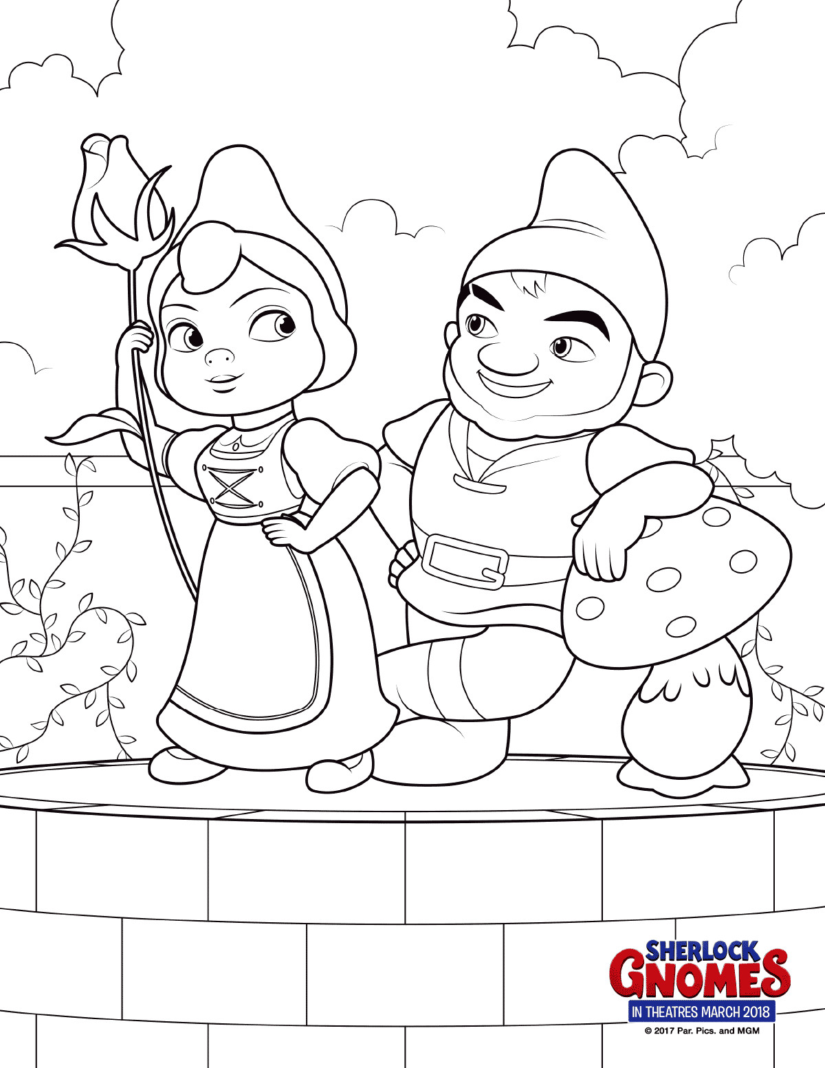 Gnome Coloring Pages  Free Printable Sherlock Gnomes Coloring Pages