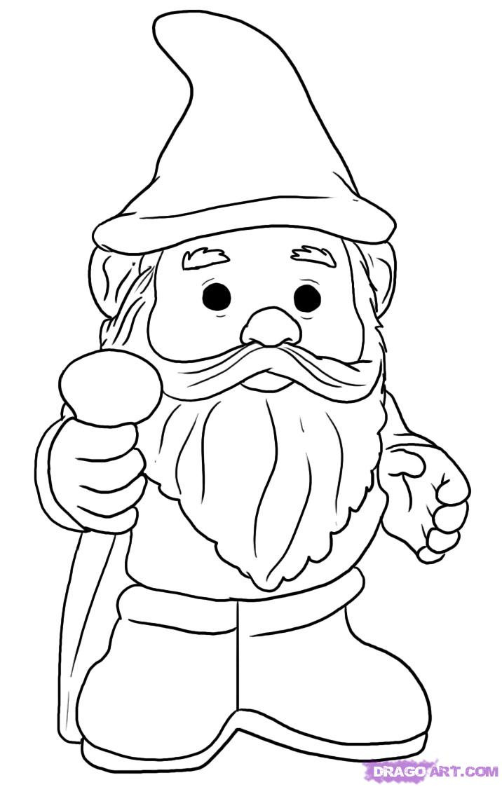 Gnome Coloring Pages  How to Draw a Gnome Step by Step Stuff Pop Culture