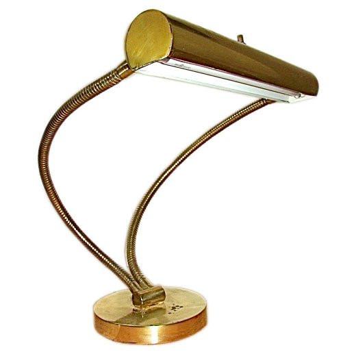 Best ideas about Gooseneck Desk Lamps . Save or Pin Italian Brass Double Gooseneck Mid Century Table Desk Lamp Now.