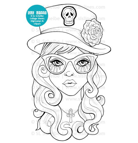 Goth Coloring Book  Goth girl digital stamp with top hat cute goth digistamp