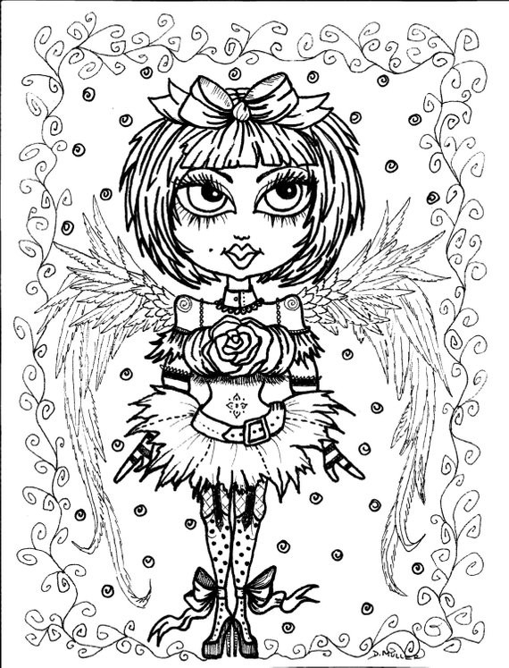 Goth Coloring Book  Instant Download 5 Coloring pages Gothic Angels Color book