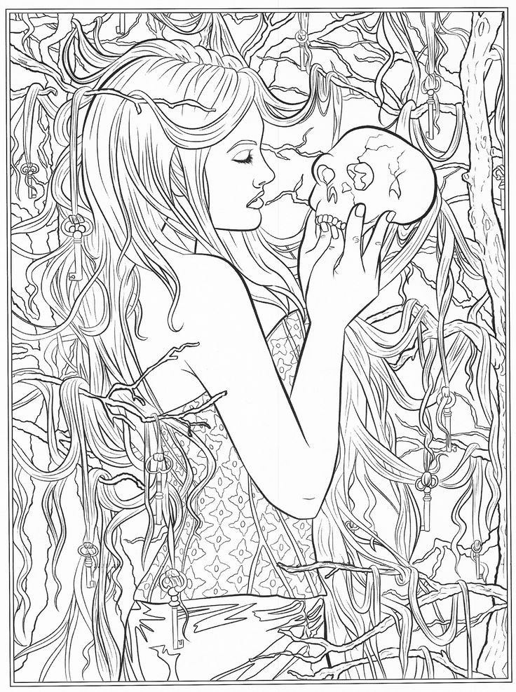 Goth Coloring Book  644 best images about Coloring pages to print Fantasy on
