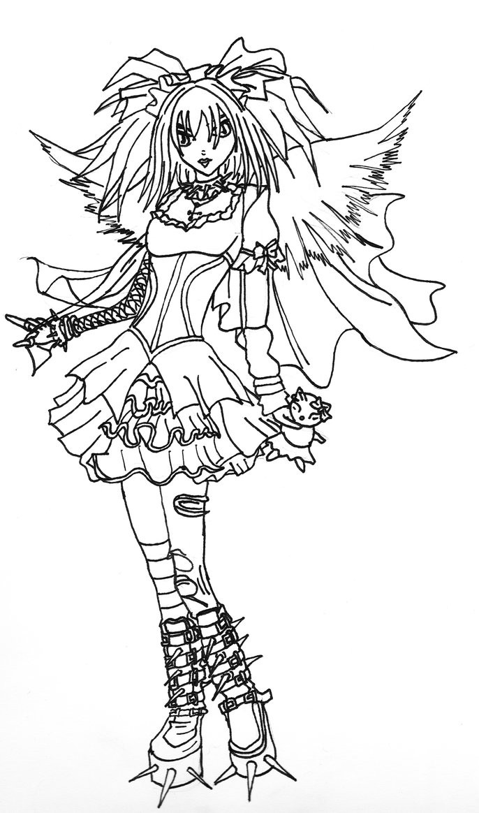 Goth Coloring Book  Gothic Angel Line art by Kestrel36 on DeviantArt