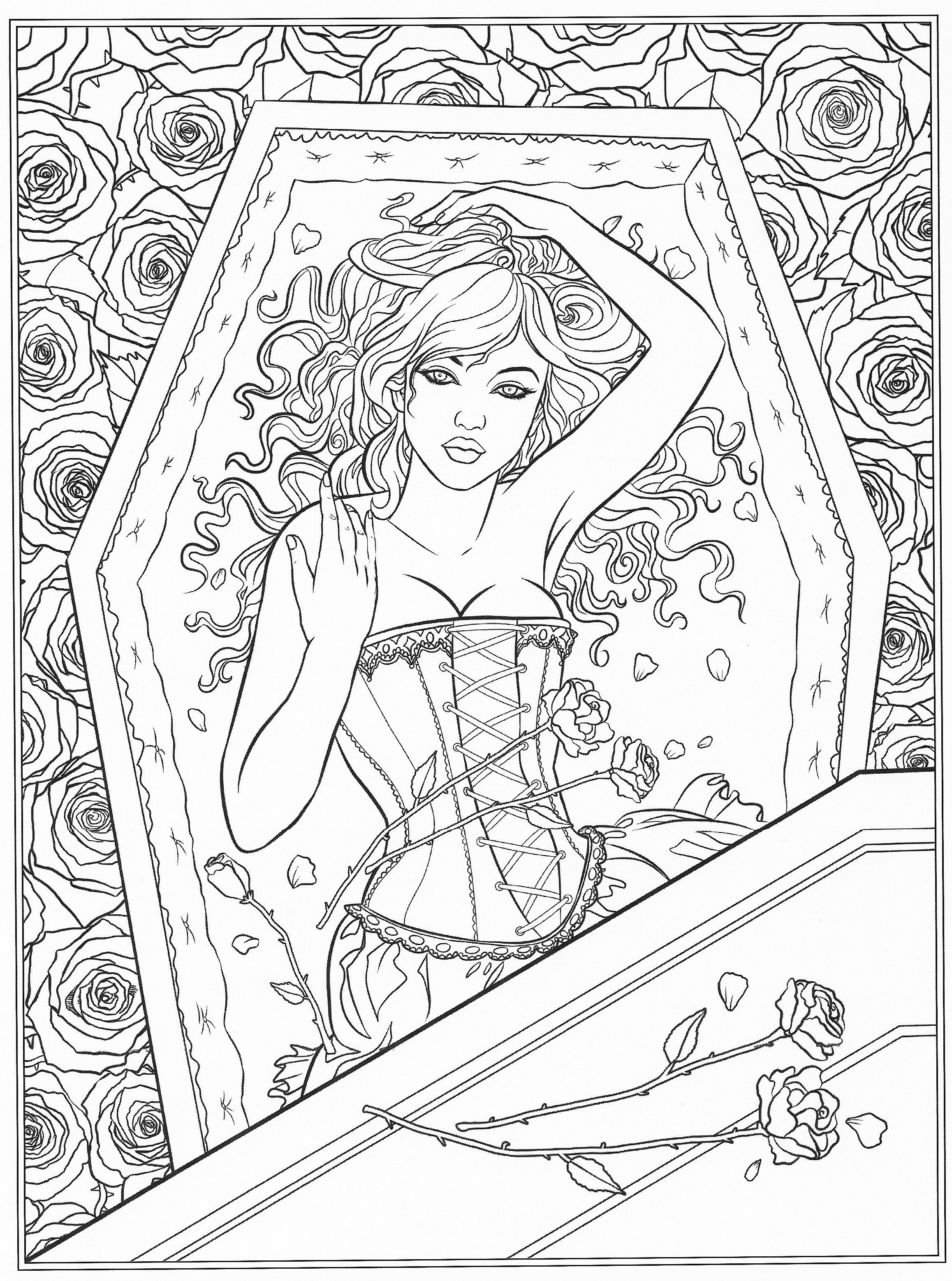 Goth Coloring Book  Gothic coloring page