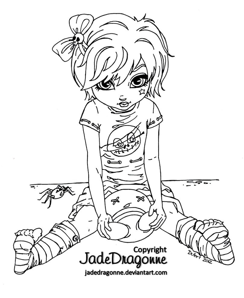 Goth Coloring Book  Gothic Doll Lineart by JadeDragonne on DeviantArt